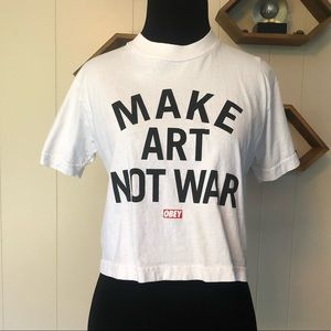 "Women's OBEY white cropped tee ""make art not war"""